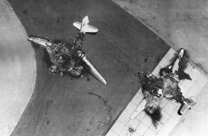 Destroyed Egyptian aircrafts on the airfield after preliminary Israeli attack 5 of June 1967.
