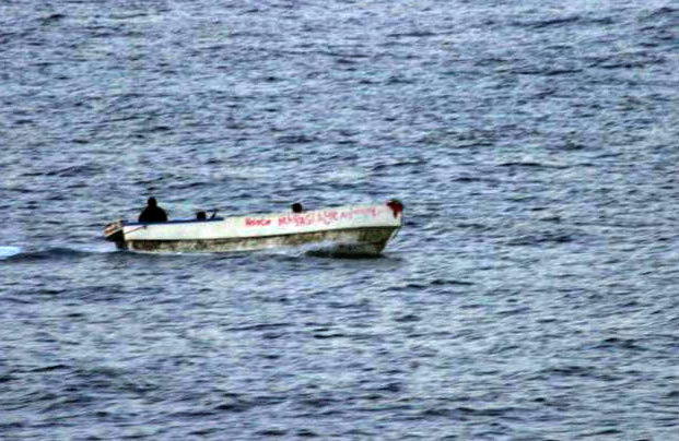 Suspected pirate skiff spotted from the US warship ship. Official US Navy photo.