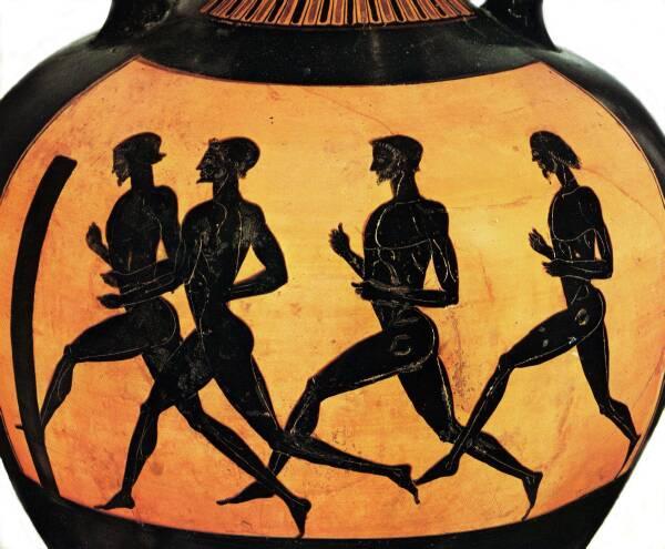Biegacze długodystansowi nastarożytnej greckiej wazie zok. 480-470 r p.n.e.