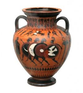 Waza przedstawiająca zawody hoplitodromos, czyli biegi wpełnej zbroi ciężkiej piechoty.