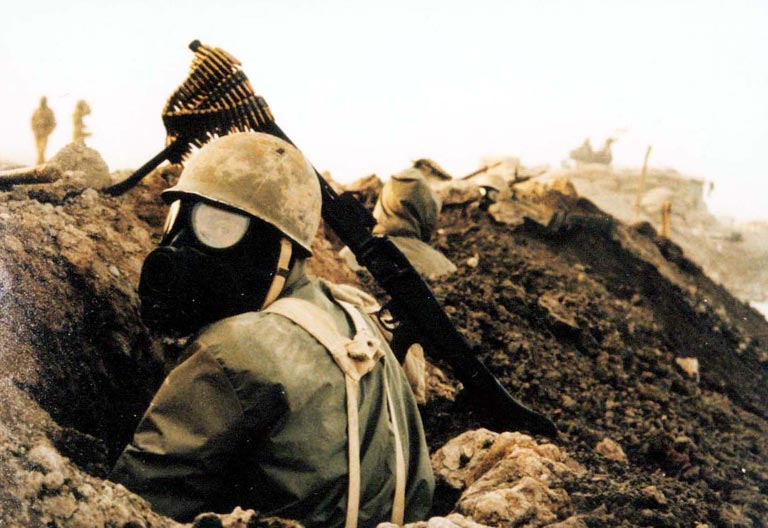 Iranian troops in chemical suits during Iraq-Iran war 1980-1988
