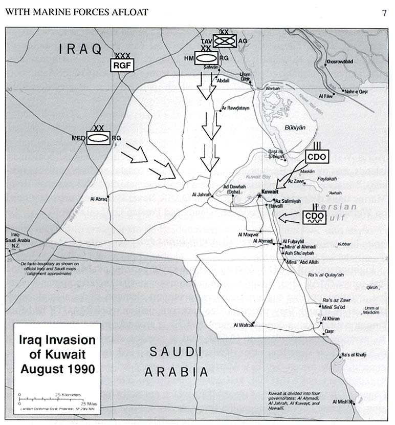 Iraqi troops movement during invasion of Kuwait in August 1990