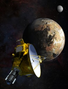 Pluton iCharon, napierwszym planie sonda New Horizons.